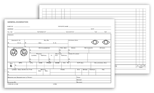 Medical office supplies for Ophthalmology exam template